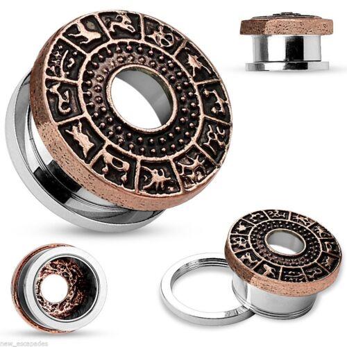 """PAIR-Zodiac Vintage Bronze On Steel Screw On Ear Tunnels 12mm//1//2/"""" Gauge Body"""
