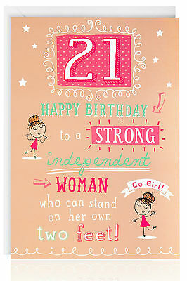21st Female Birthday Funny Humour Joke Card Greetings Cute Pink