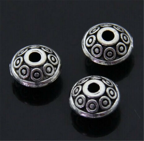PJ400 50pc Tibetan Silver Charm Flowers String Spacer Beads accessories wholesal