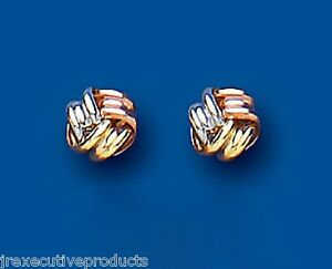 Knot-Earrings-Knot-Stud-Three-Colour-Gold-Studs-Rose-White-amp-Yellow-Gold-5mm