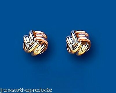 Knot Earrings Knot Stud Three Colour Gold Studs Rose White & Yellow Gold 5mm