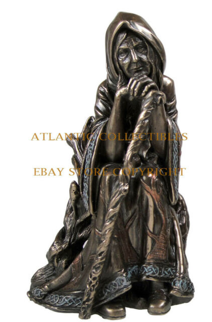 PAGAN TRIPLE GODDESS CRONE STATUE OCCULT MAGIC FIGURINE SCULPTURE
