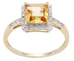 10-Quilates-Oro-Amarillo-1-65ct-Ct-Cuadrado-Citrino-y-Pave-Anillo-con-Diamante
