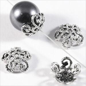 Lot-50-Calottes-pour-bijoux-Spirales-Metal-Argente-12-x-4-mm-Trous-1mm