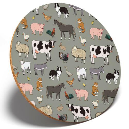 1 x Farm Yard Animals-Round Coaster Cuisine étudiant enfants cadeau #15956