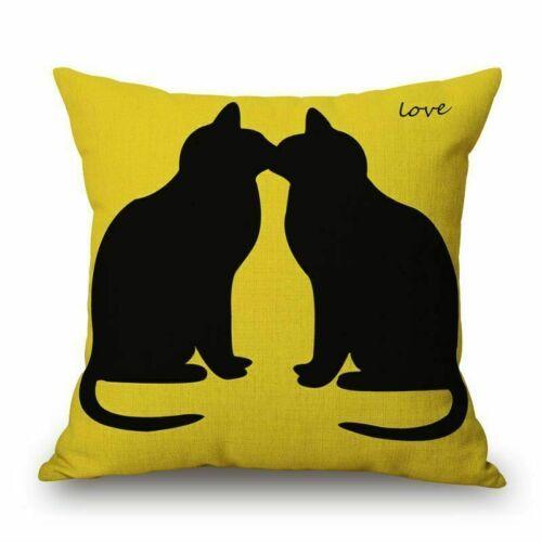 18/'/' Home Decor Cat Pattern Square Cotton Linen Throw Pillow Case Cushion Cover