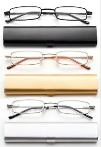 Compact-Reading-Glasses-in-Slim-Aluminium-Case-Tube-Readers-Portable-Readers-New