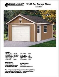 12' X 16' Car Garage Project Plans, Material List Included - Design #51216