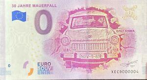 BILLET 0  EURO 30 JAHRE MAUERFALL   ALLEMAGNE 2018  NUMERO 004