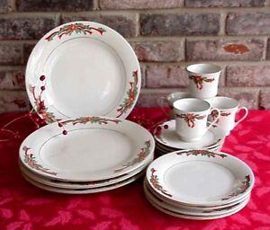 Vintage Poinsettia & Ribbon Christmas Dinnerware Tienshan ...