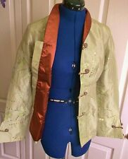 SIZE 10.FAB CHINESE SILK FITTED JACKET-green&brown embroidered MANDARIN COLLAR