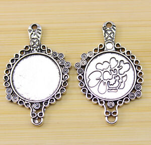 6//15 pcs 40x25 mm Antique Silver Cameo Cabochon Base Setting Charm connector