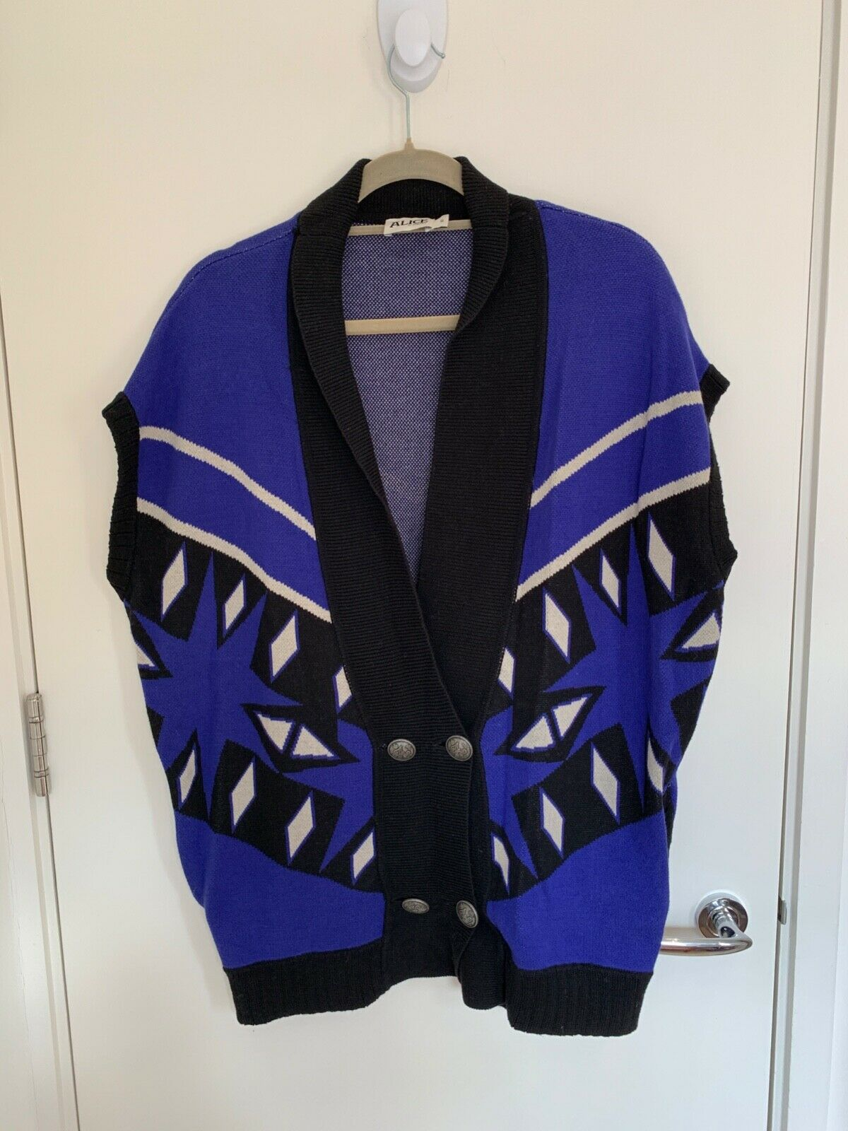 Alice by Temperley Blau Patterned Baumwolle autodigan-Mantel Größe XS