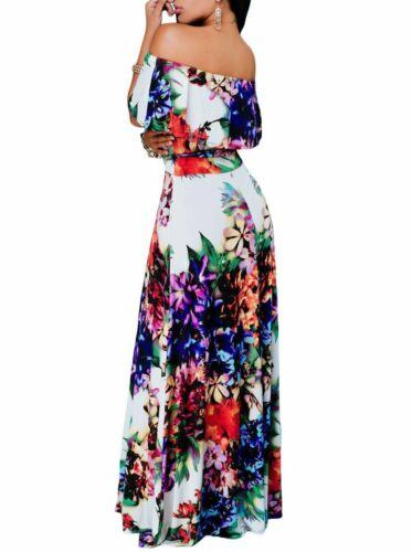 Multi-color Floral Print Off Shoulder Belted Maxi Dress