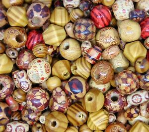 40g-APPROX-100-BEADS-Wooden-beads-mixed-patterns-amp-shapes-Round-Tube-N166