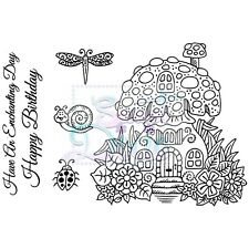 Sweet Dixie Clear Stamps Toadstool House ladybird fairy birthday dragonfly
