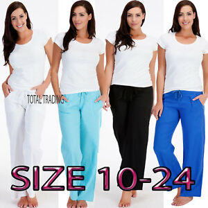LADIES-WOMENS-LINEN-CASUAL-TROUSERS-PANTS-BOTTOMS-SUMMER-HOLIDAYS-c-580-583