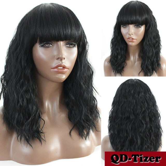 Buy Women Cosplay Wig Short Loose Curly Black Party Wigs Full Bangs ... ae9f7b9f46