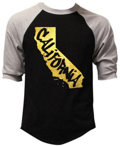 Men/'s Gold Foil California Graffiti Map Black Baseball Raglan T-Shirt Cali Tee