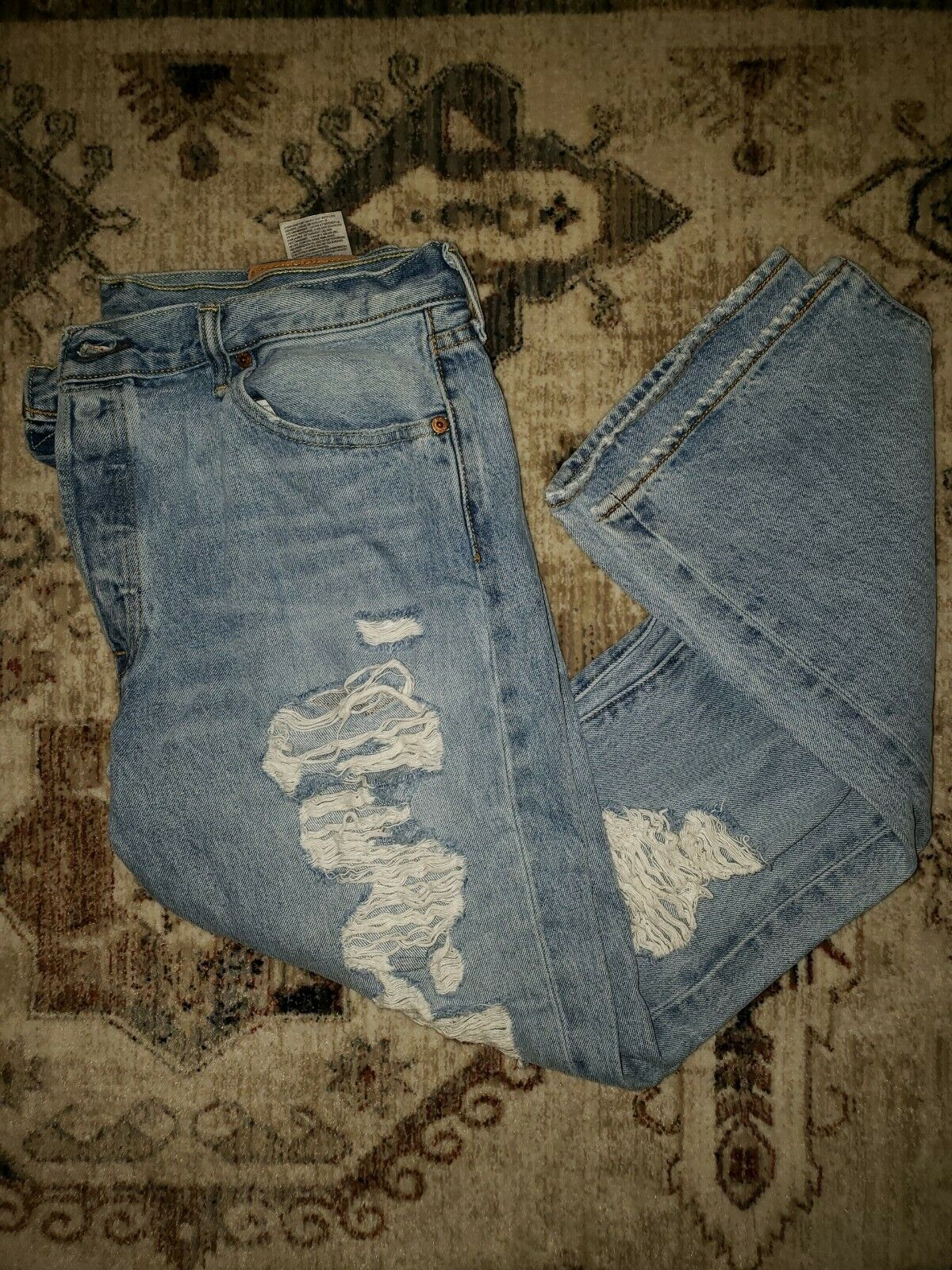 Levis 501's Jeans Distressed 36x32 Button Fly - image 1