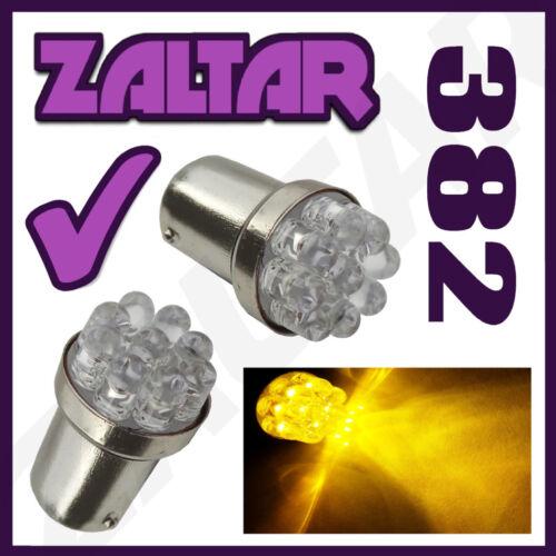2 X Amber 9 Led 382 1156 Ba15s P21w 12v Rear Indicator Light Bulbs Yellow