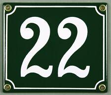 """Grüne Emaille Hausnummer """"22"""" 14x12 cm Hausnummernschild sofort lieferbar Schild"""