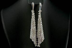 Image Is Loading Genuine Swarovski Crystal Mesh Long Earrings 925 Silver
