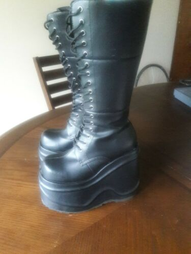 DEMONIA Wave-302 Size 7 Black Goth Cyber Punk Alte