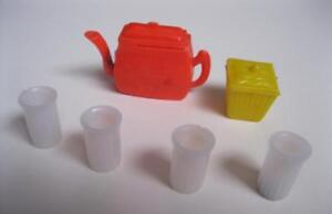vtg-1960s-Barbie-Doll-Plastic-clone-TOY-DISHES-TEA-POT-CANISTER-GLASS-HONG-KONG