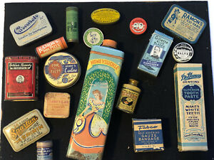 Rare Vintage 18 Piece Medical And Dental Tin Lot Gillette, Laxative, Pills, Etc