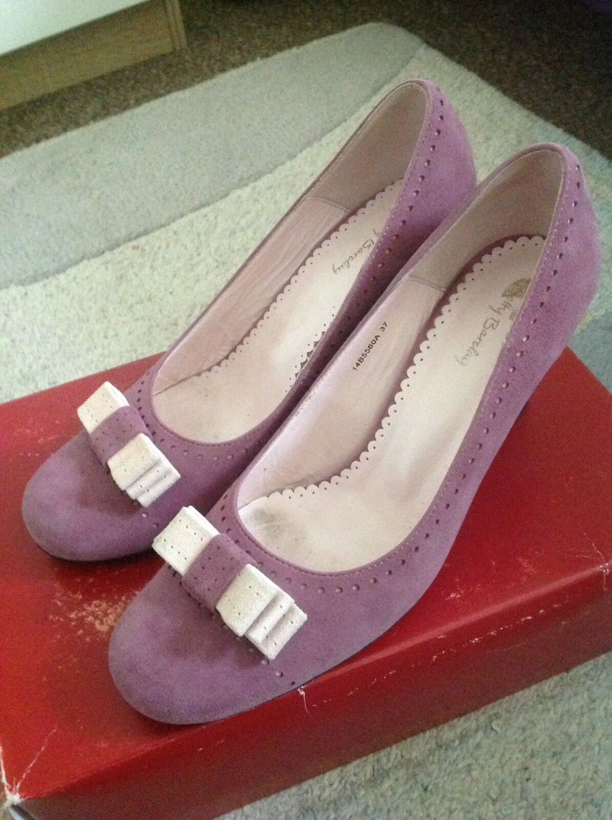 Beautiful Betty Barclay purplec Leather And Suede shoes UK 4