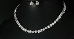Details About 18k White Gold Gp Tennis Necklace Earrings Set Made W Swarovski Crystal Bridal