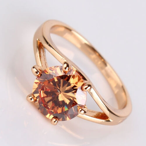 Unique Women Yellow Sapphire Crystal Wedding Gold Filled Solitaire Rings #5-9
