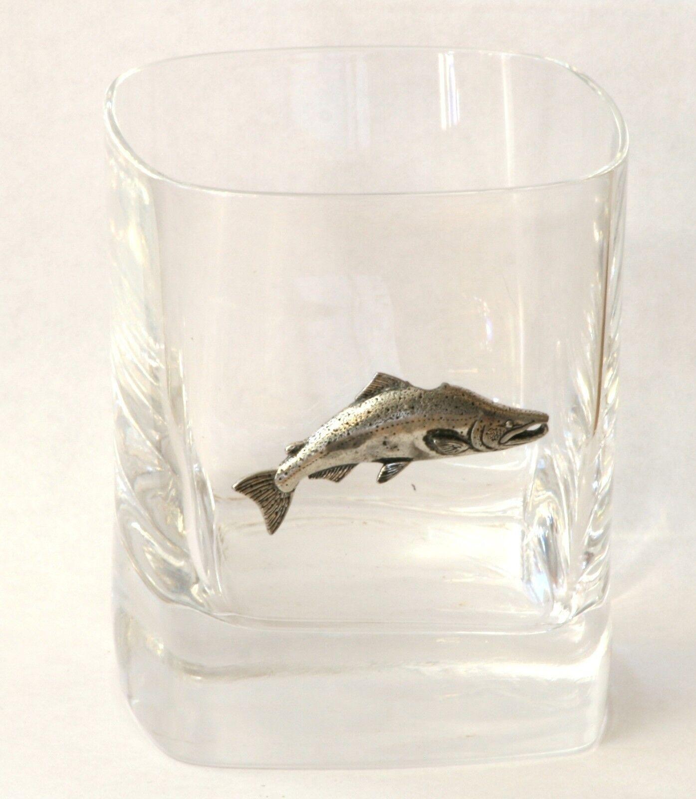 Salmon Pewter Motif Pair of Crystal Tumblers Presentation Box Fishing Gift