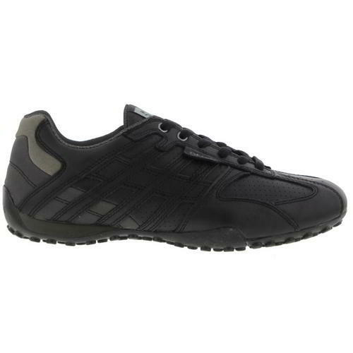 Geox U Snake Mens Breathable Black Leather Trainers Shoes Size 9-11