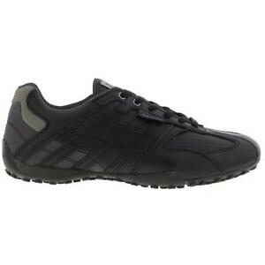 GEOX-U-SNAKE-homme-respirant-noir-Cuir-Marche-Baskets-Chaussures-Taille-9-11