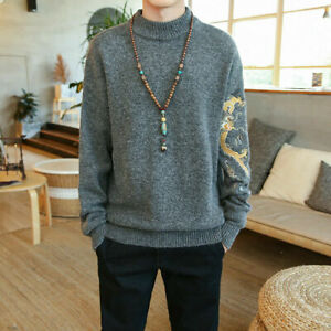 Mens Casual Embroidery Knitted Sweater High Neck Pullover Jumpers Tops Plus Size