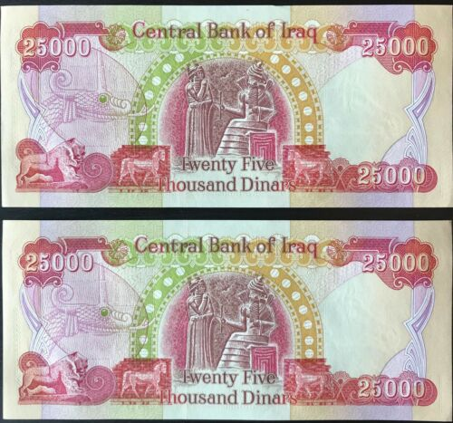 AUTHENTIC IRAQ MONEY 2 25,000 NOTES FAST DELIVERY OFFICIAL IRAQI DINAR -