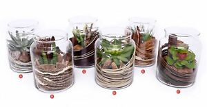 Decorative Jars Filled With Artificial Plants Flowers 6 To Choose