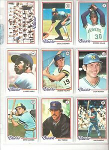 1978-TOPPS-MILWAUKEE-BREWERS-TEAM-SET-27-VG-EX-MT-ROBIN-YOUNT-CECIL-COOPER