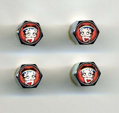 Betty Boop 4 Chrome Plated Brass Tire Valve Caps Car /& Bike Featuring Betty Boop