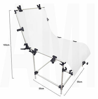 Photography Shooting Table Studio Still Product Display Lighting Clamps 60x130