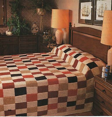 EASY KNITTING PATTERN DK VINTAGE PATCHWORK BLANKET BEDSPREAD THROW CABLE CUSHION