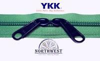 Genuine Ykk Nylon Coil Zipper Tape 5 Green 10 Yards With 20 Black Sliders