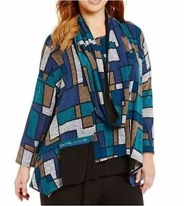39da96452170c IC Collection Connie K Multi Stained Glass Print Tunic Zip Pocket ...