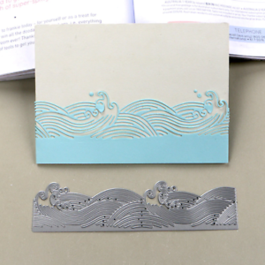 Duofen Metal Cutting Dies Extendable Sea Wave Cutout Lace Embossing Stencil Diy