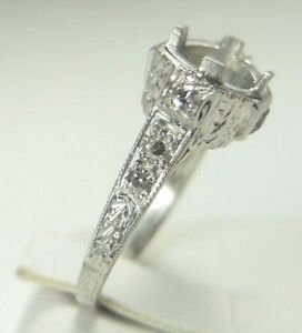 Image Is Loading Antique Art Deco Engagement Ring Setting Mounting Mount