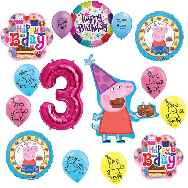 Peppa Pig Party Supplies 3rd Birthday Party Balloon Decoration Kit