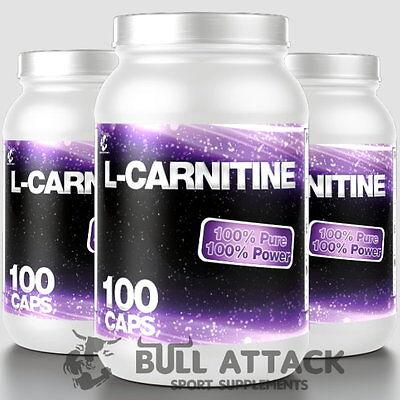 3x 100 Kapseln Pure L-Carnitin á 500mg Fatburner Fettreduktion Carnitine + Bonus