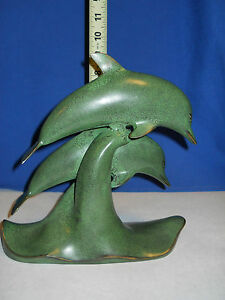 Collectible-Double-Dolphin-Figurine-in-Waves-Green-or-Verde-Colored-Brass-New
